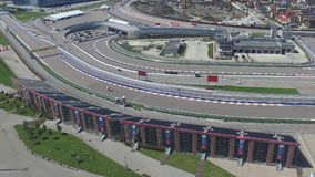 The formula 1 track in Sochi, the Olympic village in Sochi. Building site of stadium for racing near town and mountains Stock Images