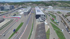 The formula 1 track in Sochi, the Olympic village in Sochi. Building site of stadium for racing near town and mountains Royalty Free Stock Images