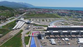 The formula 1 track in Sochi, the Olympic village in Sochi. Building site of stadium for racing near town and mountains Stock Photography