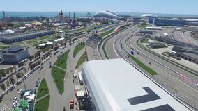 The formula 1 track in Sochi, the Olympic village in Sochi. Building site of stadium for racing near town and mountains Royalty Free Stock Image