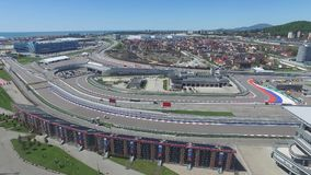 The formula 1 track in Sochi, the Olympic village in Sochi. Building site of stadium for racing near town and mountains Royalty Free Stock Photography