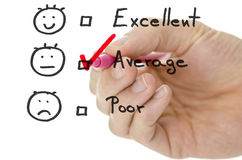 Formulaire d'évaluation de service client avec le coutil en moyenne images stock