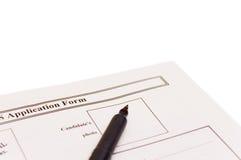 formulaire de demande Photo stock