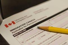 Formulaire de demande de Canada d'immigration photos libres de droits