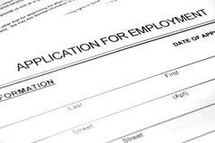 Formulaire de demande d'emploi sur le papier photographie stock