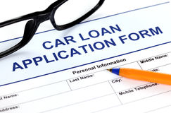 Formulaire de demande de prêt automobile Images stock