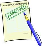 Formulaire de demande de visa avec le timbre approuvé illustration stock