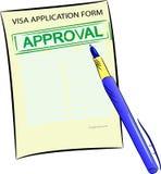 Formulaire de demande de visa avec le timbre d'approbation illustration stock