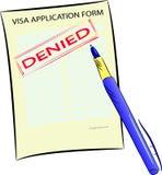Formulaire de demande de visa avec le timbre nié illustration libre de droits