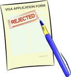 Formulaire de demande de visa avec le timbre rejeté illustration de vecteur