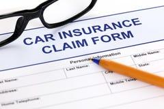 Formulaire de réclamation d'assurance auto Images stock