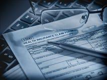 Formulaire de réclamation d'assurance médicale maladie Image libre de droits