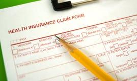 Formulaire de réclamation d'assurance médicale maladie Photos stock