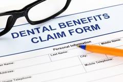 Formulaire de réclamation dentaire d'avantages Photo stock