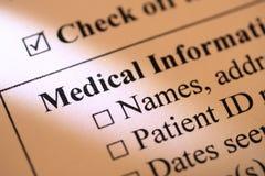 Formular der medizinischen Informationen Stockbilder