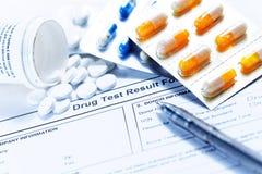 Formular des Drogentests lizenzfreies stockfoto
