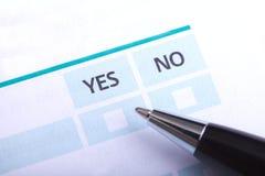 Formular ja oder nein Lizenzfreie Stockfotos