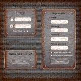 Formulario de inicio de sesión aherrumbrado moderno de la tarjeta del Web Imágenes de archivo libres de regalías