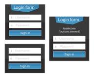 Formulario de inicio de sesión en variantes simples y complejas Imágenes de archivo libres de regalías