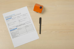 Formulario de inscripción de hipoteca Foto de archivo libre de regalías