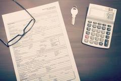 Formulario de inscripción de préstamo hipotecario Foto de archivo libre de regalías