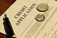 Formulario de inscripción del crédito en blanco Fotos de archivo libres de regalías