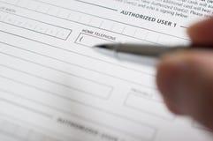 Formulario de inscripción del crédito en blanco imagen de archivo libre de regalías