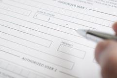 Formulario de inscripción del crédito en blanco Imagenes de archivo