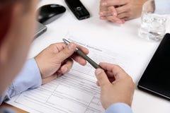 Formulario de inscripción del préstamo hipotecario Imagen de archivo