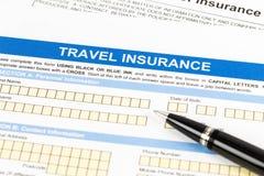 Formulario de inscripción del seguro del viaje Foto de archivo libre de regalías