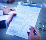 Formulario de inscripción Job Interview Employment Concept Fotografía de archivo