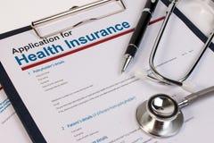 Formulario de inscripción para el seguro médico Foto de archivo libre de regalías