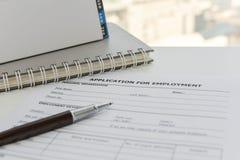 Formulario de inscripción a solicitar un trabajo imagenes de archivo