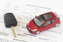 Formulario de inscripción de préstamo de coche Imagen de archivo