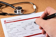 Formulario informativo medico di emergenza fotografie stock