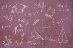Formulas and equations written on blackboard. Royalty Free Stock Image