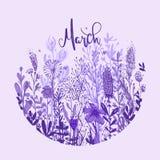 Formulazione del marzo con i fiori disegnati a mano porpora in un cerchio, elementi di scarabocchio, erba, foglie, fiori Illustra Fotografie Stock