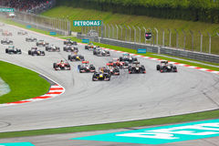 Formule 1, Sepang. Début de chemin Photo stock