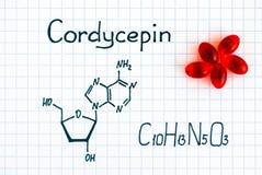 Formule chimique de Cordycepin avec les pilules rouges Photographie stock libre de droits