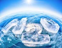 Formule chimique de l'eau H2O Photographie stock libre de droits