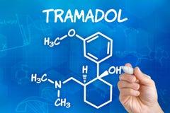 Formule chimique de Tramadol photographie stock