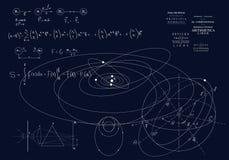 Formule dei meccanici classici, le leggi di Newton Fisica di moto dei corpi, delle leggi di gravit? e dell'ottica fotografie stock
