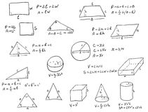 Formule della geometria scritte mano Fotografia Stock Libera da Diritti