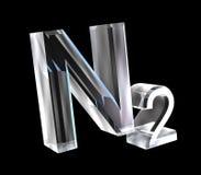 formule di chimica 3d in vetro di azoto Fotografie Stock Libere da Diritti