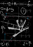 Formule di fisica che attingono consiglio scolastico nero Immagini Stock
