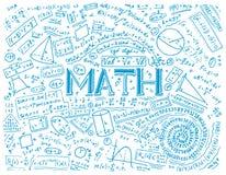 Formule e calcoli scientifici nella fisica e nella matematica sulla lavagna La lezione di algebra e della geometria dentro illustrazione vettoriale