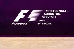 Formule 1, Grand Prix de banner van van Europa, Baku 2016 Stock Afbeeldingen