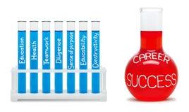 Formule van carrièresucces. Concept met blauwe en rode flessen. Royalty-vrije Stock Foto
