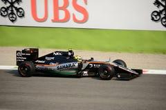 Formule 1 van krachtindia in Monza door Sergio Perez wordt gedreven dat Stock Afbeelding