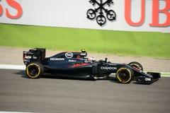 Formule 1 van McLarenhonda in Monza door Jenson Button wordt gedreven dat Stock Foto